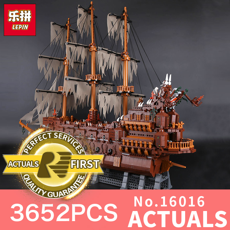 Lepin 16016 3652Pcs Movie Series MOC Flying the Netherlands Building Blocks Bricks Education toy Model to Children Holiday Toys elc 100 bricks toy wooden building blocks storage bag confirm to en 71 freeshipping