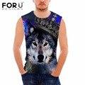 Forudesigns 2017 3d lobo animal padrão tanque top man clothing coletes musculação undershirt aptidão para o sexo masculino blusa masculina