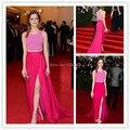 Emma Stone Dos piezas Rosa Fucsia Celebrity Vestido de Noche 2016 Met Gala Largo Partido de Las Señoras Vestidos Sexy Backless Largo de Baile vestidos