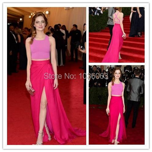 Emma Stone Dos piezas Rosa Fucsia Celebrity Vestido de Noche 2016 Met Gala Largo Partido de