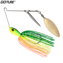 Goture 1pc Spinnerbait Fishing Lure 14g Steel Spoon Spinner Bait 3D Eyes Colourful Skirt Buzz Bait Spinner Fishing Lure Tackles