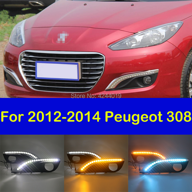 Fits 2012-2014 Peugeot 308 Fog Lights Fog Lamps LED Driving Light DRL Day Light Daytime Running Lights Yellow Turn Signal 1 set led daytime running lights front driving fog lamps drl for subaru forester 2014
