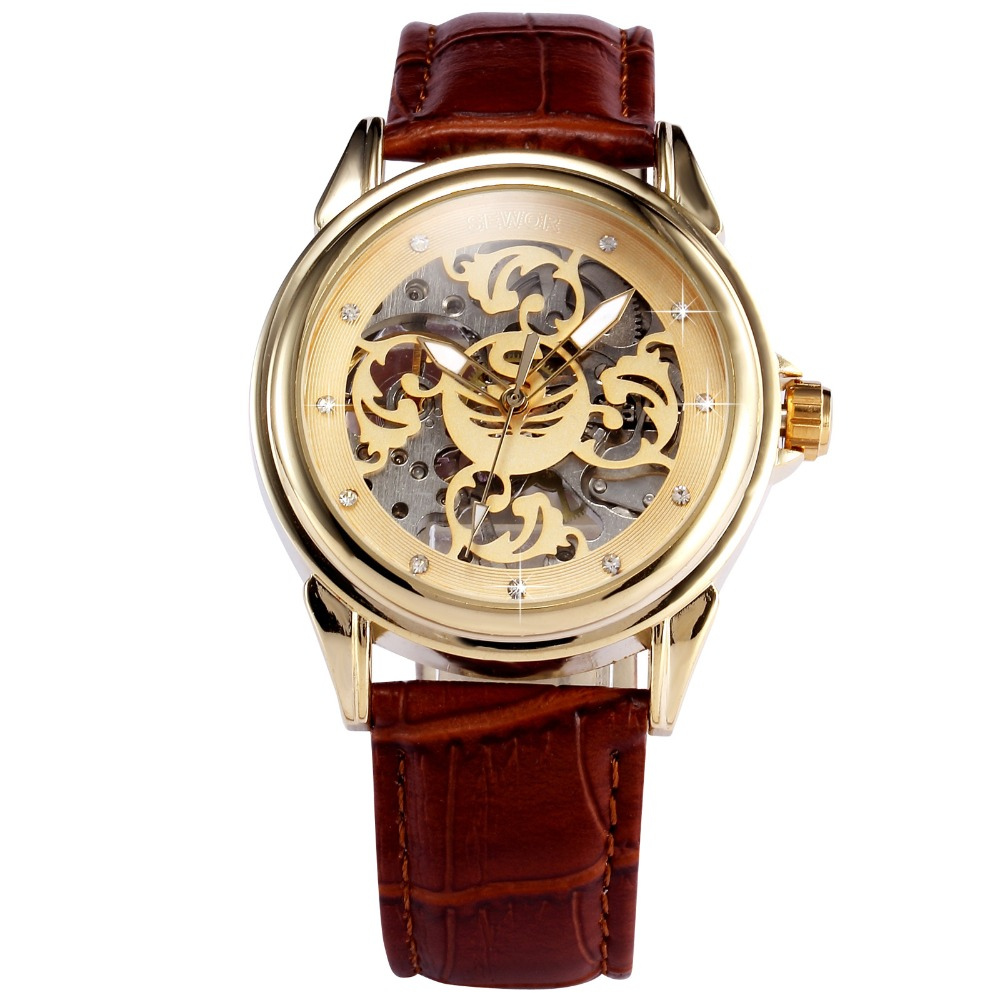 Sewor Hollow Skeleton Casual Mechanical Hand Wind Watch Man Clock Luxury Male Business Leather Wristwatch Relogio Masculino 1pcs men s luxury mechanical wristwatch skeleton watches hand wind up leather strap free shipping wholesale relogio masculino j5