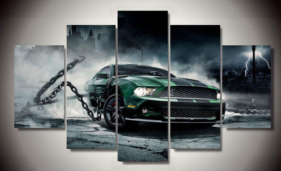 framed printed mustang shelby car 5 piece picture painting wall art childrens room decor poster canvas