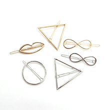 2pcs/set Hairgrip Triangle Circular Lips Infinite Symbols Geometric Concise Hairpins For Women Girl Wedding Hair Accessories