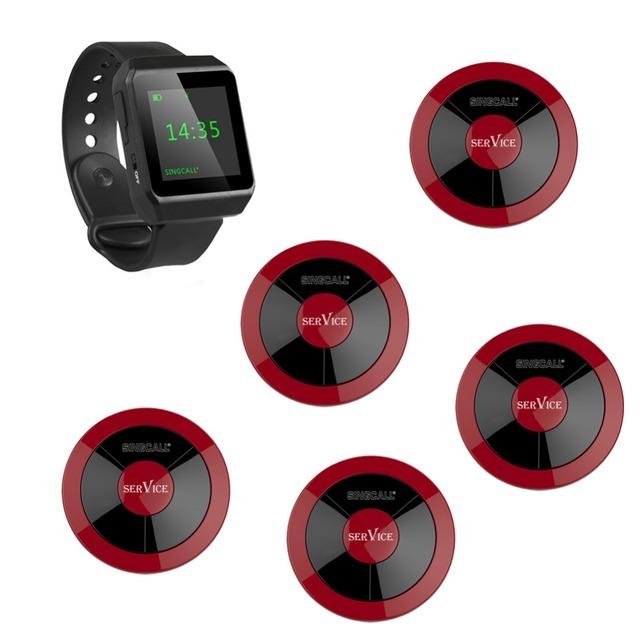 Singcall sem fio chamando system, 1 relógio pager e 5 botões para ambiente de serviço único, restaurante, do hotel, coffeeshop, banco