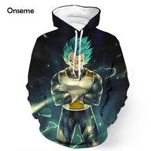 Onseme Classic Anime 3D Hoodies Dragon Ball Z Super Saiyan Pocket Hooded Sweatshirts Cool Vegeta Hoodie Pullovers Outfits