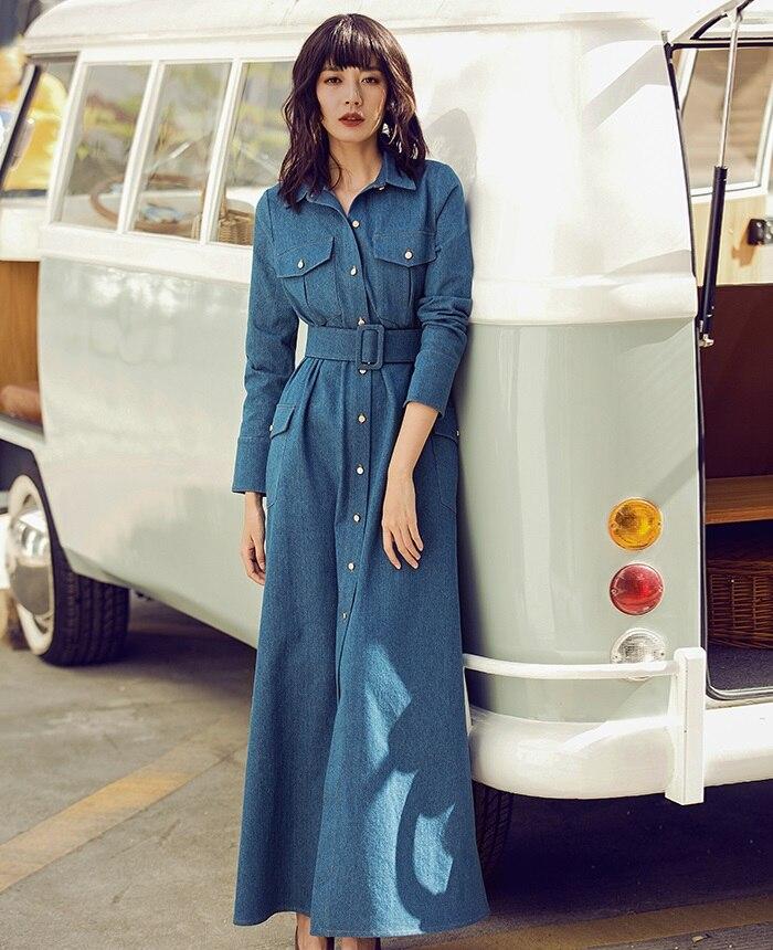 d4469e62c07 Longues 100 Denim Marque Qualité 116 Printemps Jeans 2019 Coton 125 Length  Femmes Robe Haute Longue ...