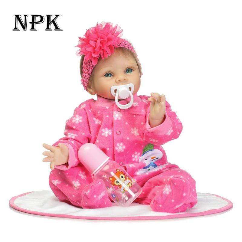 NPK simuler grande fleur fille Reborn bébé poupée réaliste doux silicone bébés adorables poupées enfants Playmate Silicone jouets