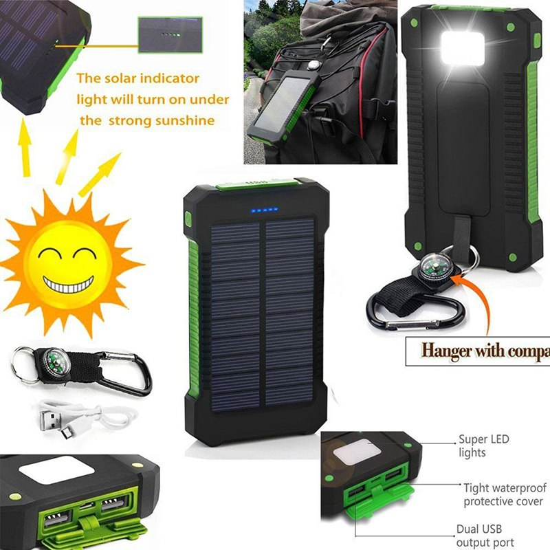 1pcs Diy Waterproof Dual Usb Mobile Phone Accessories Cellphones & Telecommunications No Battery Solar Led 50000mah Power Bank Charger Case Kit 14.9cm X 7.4cm X 1.8cm