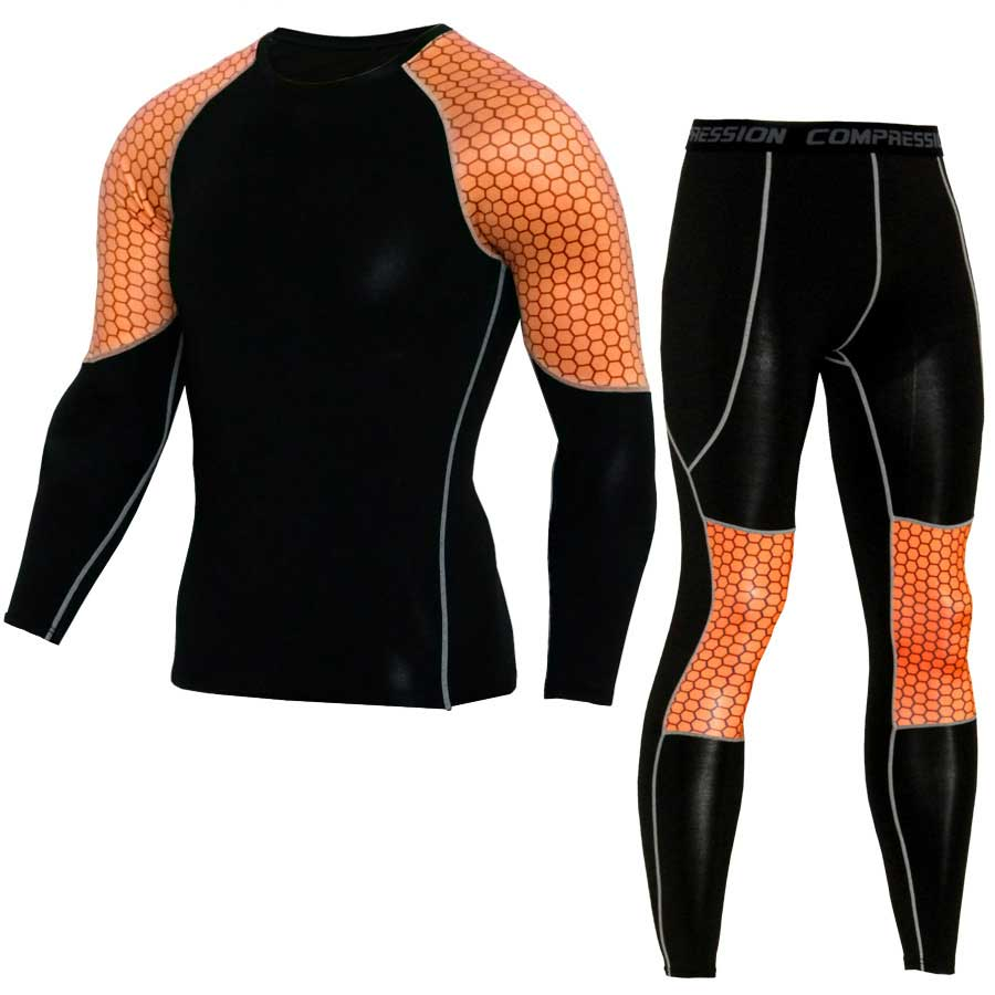 Men GYM Compression Fitness Sets Tee Top + Legging Workout Exercise Sport Yoga Beach Shirts Running Tights Tank Clothing 04