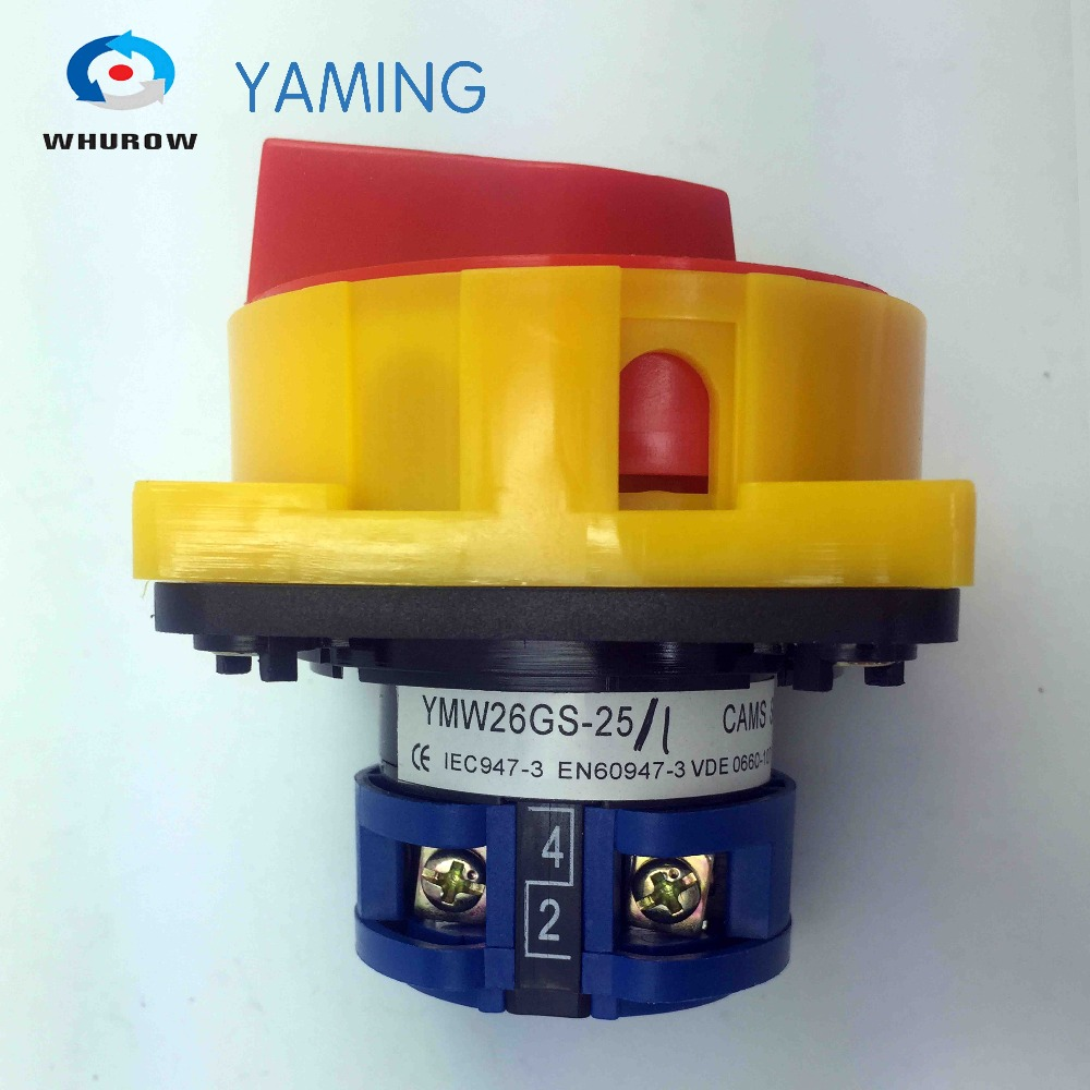 Yaming electric LW26-25/1GS padlock changeover rotary switch 660V 25A 1 pole 2 position on-off control motor cam switch 660v ui 10a ith 8 terminals rotary cam universal changeover combination switch