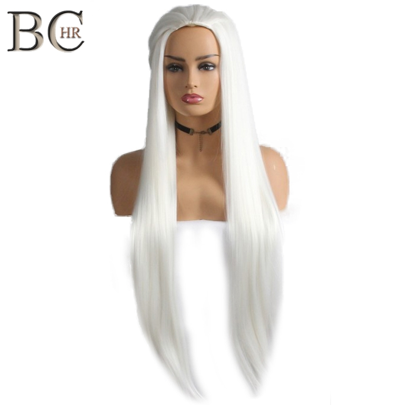 BCHR Long Straight Synthetic Wig White Cosplay Wig for Legolas Greenleaf Hollywood Party Wigs