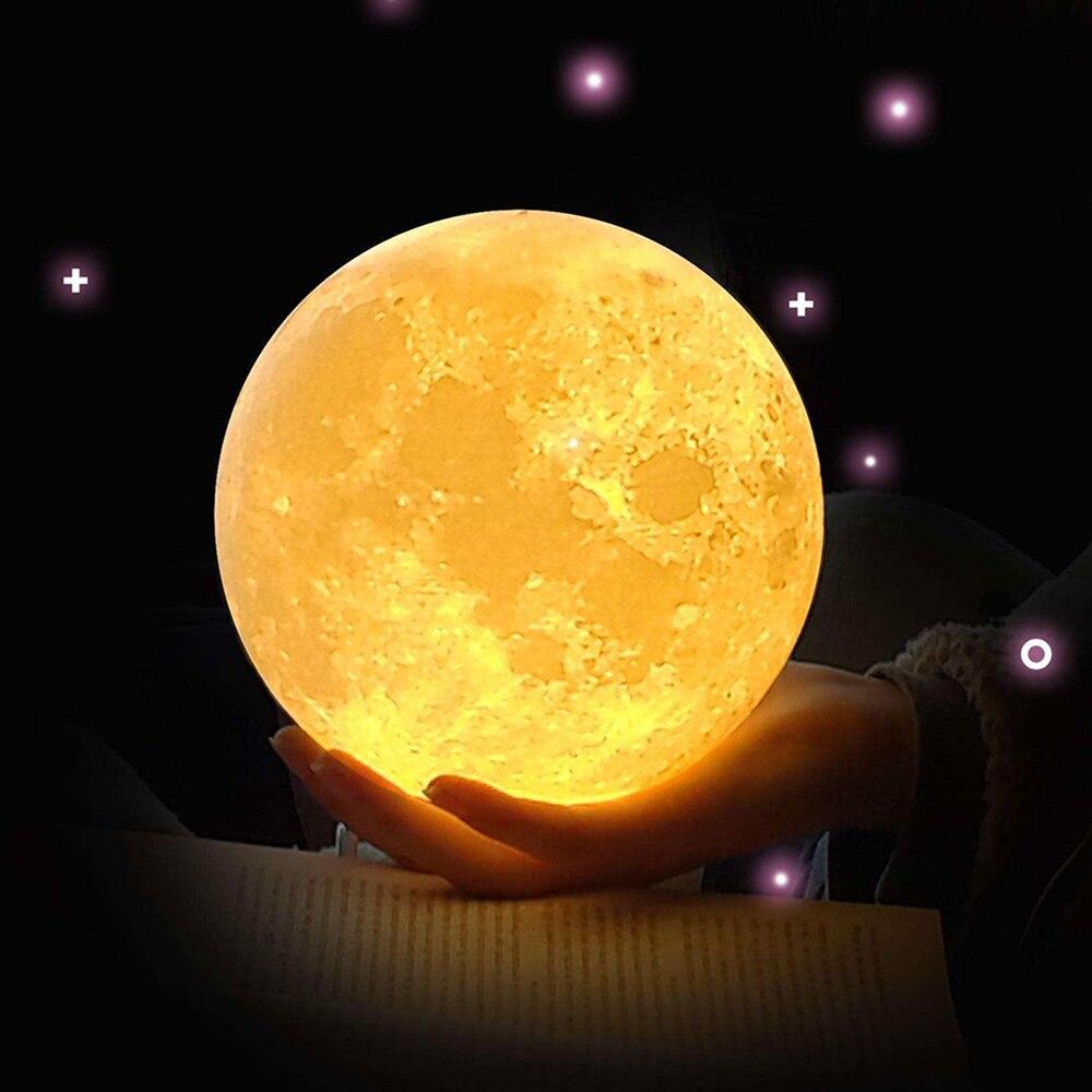 ZINUO Wiederaufladbare Mond Lampe DC5V 3D Print Mond Nachtlampe Touch Control Helligkeit (Gelb + Weiß) Mond Licht kreative Geschenke