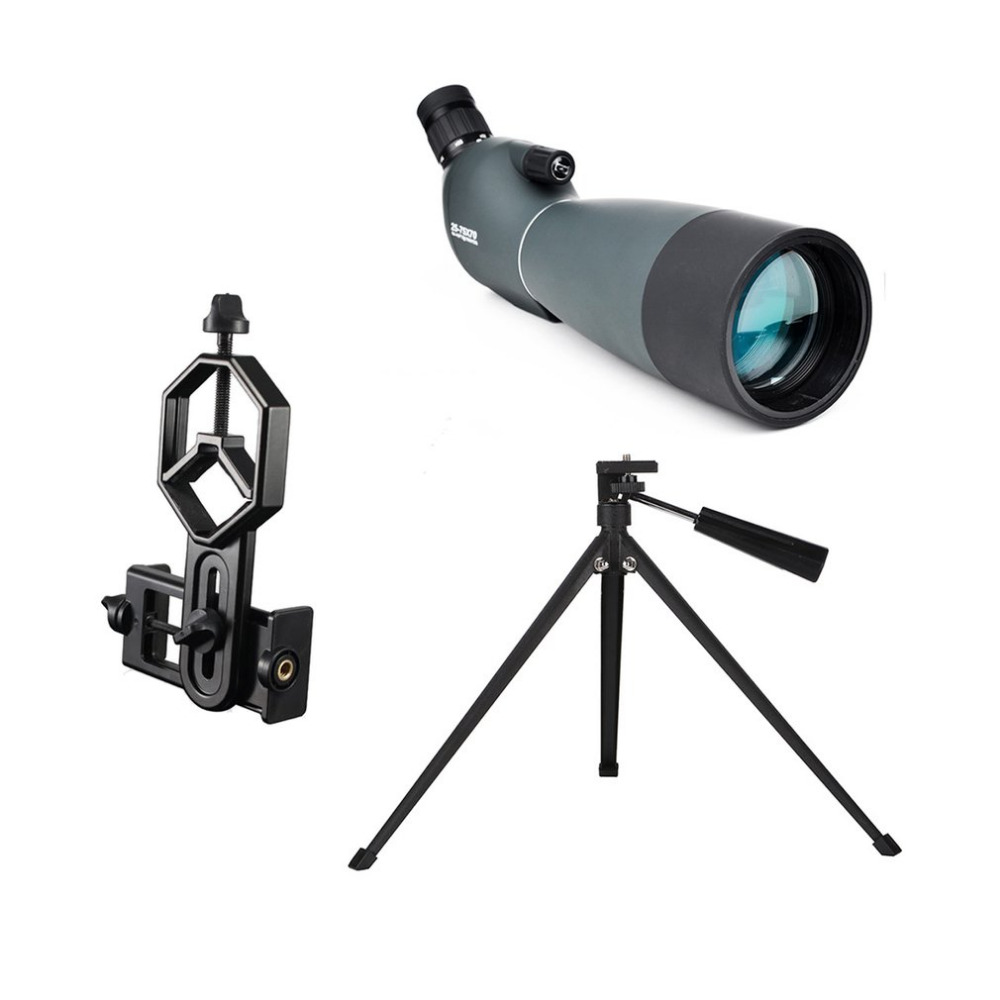 Telescopio SV28 telescopio Zoom 25-75X 70mm impermeable Birdwatch caza Monocular y adaptador de teléfono Universal Montaje del envío gratis