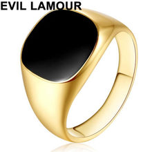 Gold Silver Plated Black Enamel Rings Men Vintage Ring Punk Classic Black Drip Imitation Black Stones Male Enamel Ring(China)