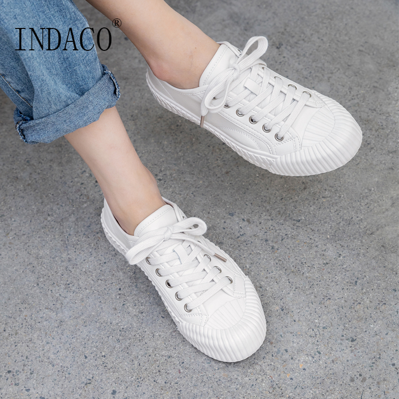Women Leather White Yellow Canvas Shoes Flat Casual Shoes Women Sneakers 2019 3cm