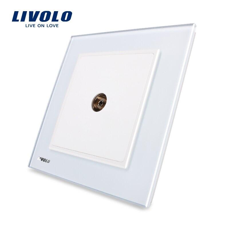 LIVOLO Reino estándar nuevo estilo moderno pared TV socket, caprichoso, panel de cristal blanco, VL-W291V-12/11/13