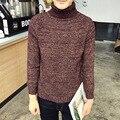 O novo inverno 2016 conjuntos homens gola cultivar a moralidade com grosso suéter cor sólida