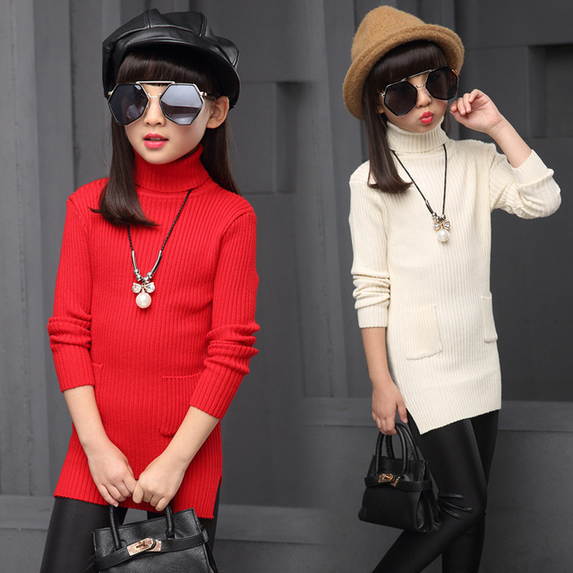 School Kids Sweaters For Girls Middle Long Turtleneck Dresses Skinny Bottoming Shirts Spring Autumn Teenage Girls Sweaters 6-14Y