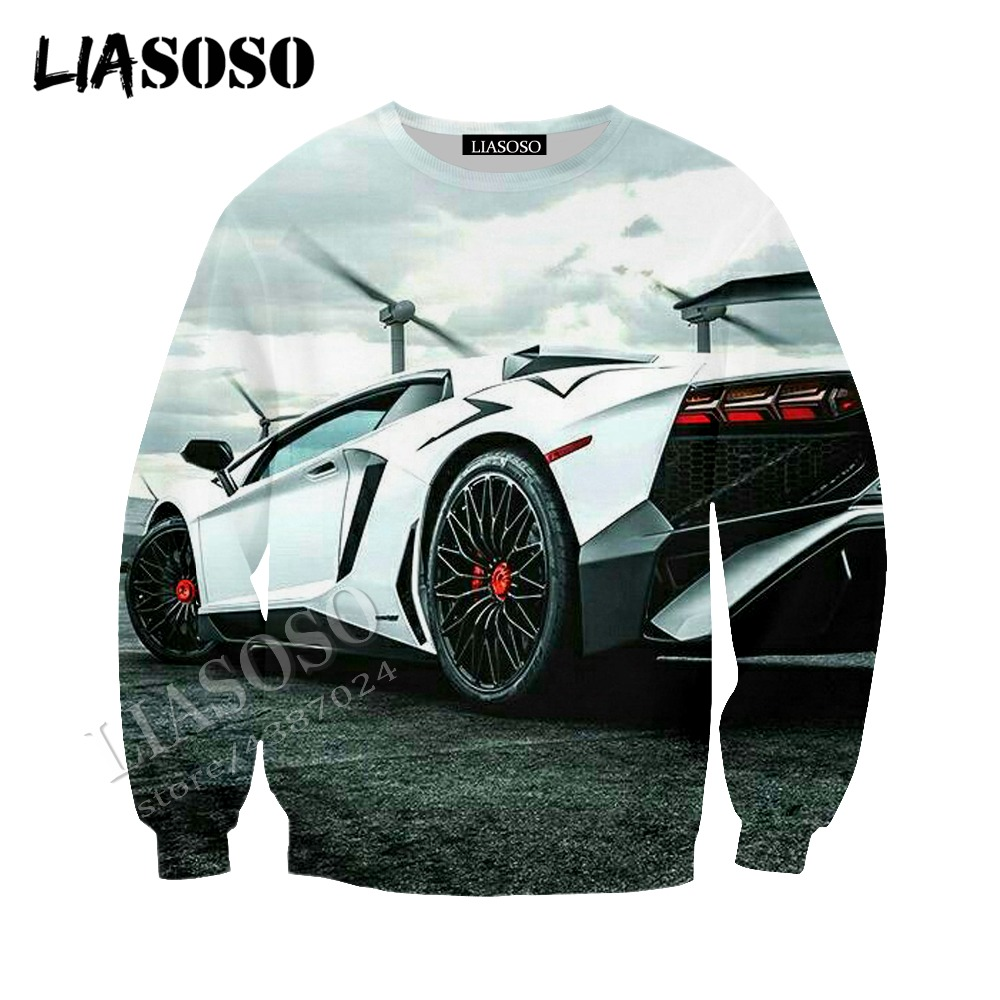 LIASOSO latest 3D print cozy polyester sportswear super sports car cool speed passion racing zipper hooded shirt men women CX612