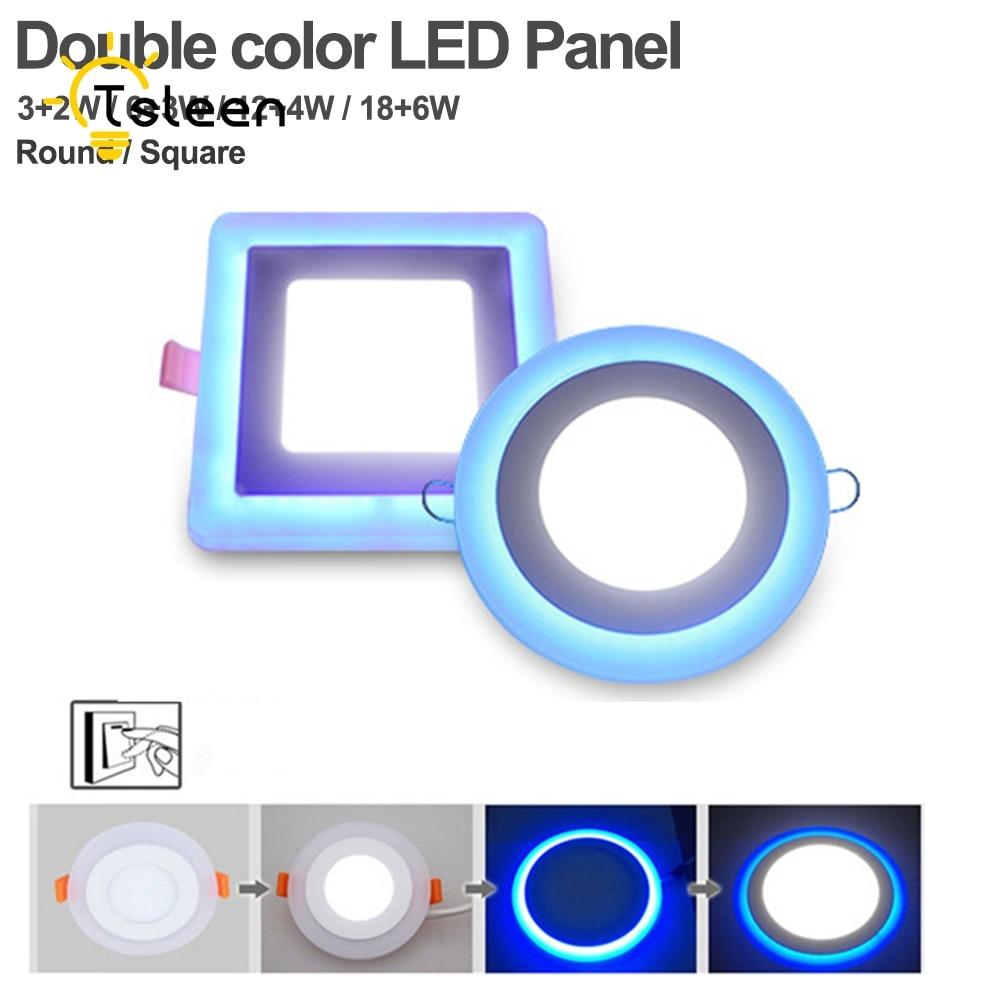 TSLEEN New LED Panel Downlight 5W 9W 16W 3 Model Light AC85-265V Recessed Ceiling Lamp Aluminum Acrylic Painel Lights