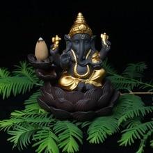 Керамический обратный поток благовоний горелка слон Бог благовония база домашний декор Ганеша фиолетовый песок сандаловое дерево фигурки