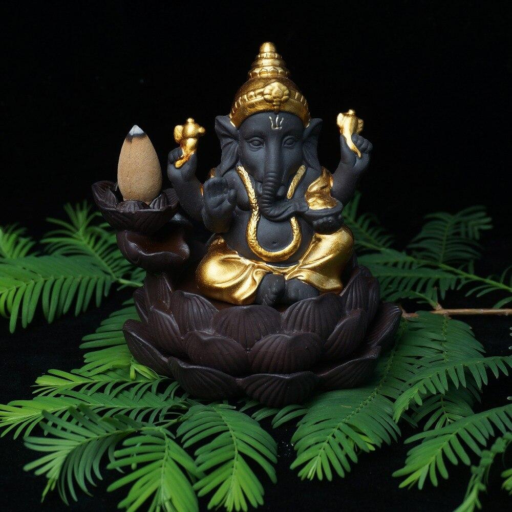 Ceramic backflow incense burner elephant god incense base home decor ganesha purple sand sandalwood figurines