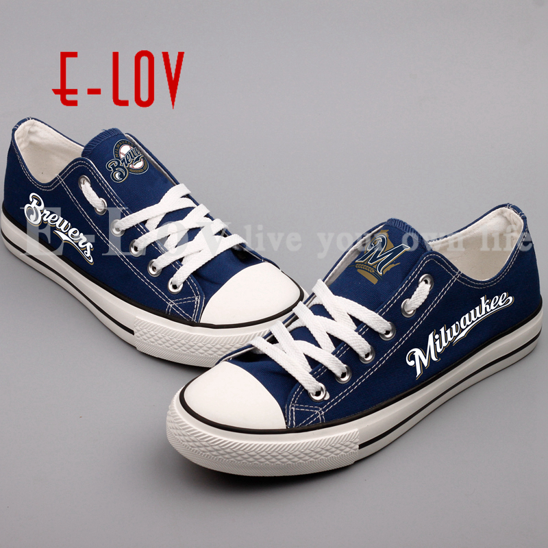 E-LOV 2018 New Print Canvas Shoes Milwaukee Brewers Fans Customize Casual Shoes Low Top Lace Shoes Drop Shipping e lov women casual walking shoes graffiti aries horoscope canvas shoe low top flat oxford shoes for couples lovers