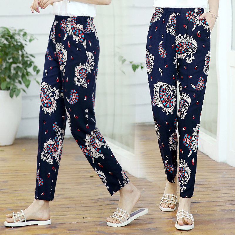 Image 2 - 22 Colors 2019 Women Summer Casual Pencil Pants XL 5XL Plus Size High Waist Pants Printed Elastic Waist Middle Aged Women Pants-in Pants & Capris from Women's Clothing