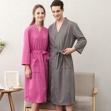 Lovers Fashion Plus Size Waffle Bathrobe Lace Up Women Men Kimono Spa Bath Robe Sexy Peignoir Dressing Gown Bridesmaid Robes
