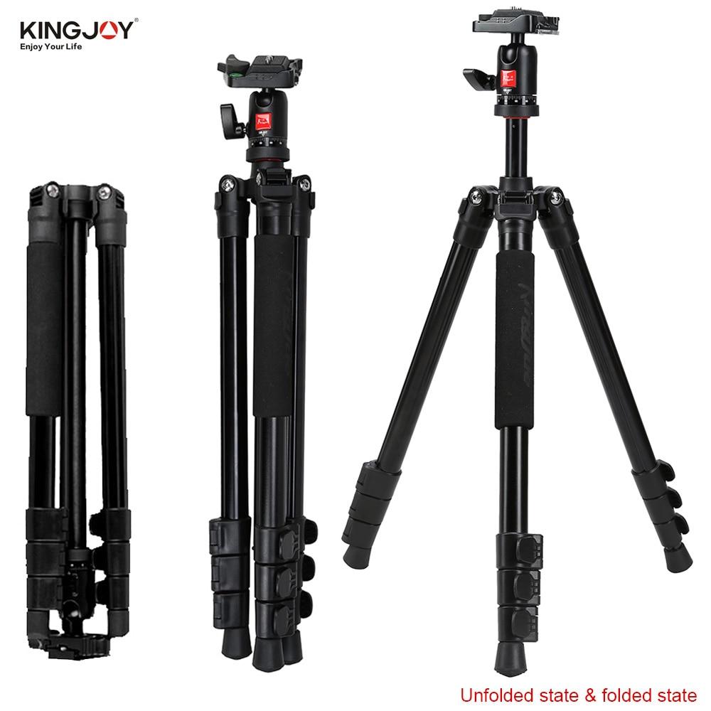 ФОТО Kingjoy BT-258B Portable Aluminum Camera Tripod Professional Photo Tripod with QB-00T Ball Head for Canon Nikon DSLR Cameras