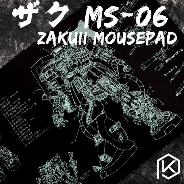 Mechanische tastatur Mousepad zaku II ms 06 900 400 4mm nicht Genäht Kanten Weiche/Gummi Hohe qualität