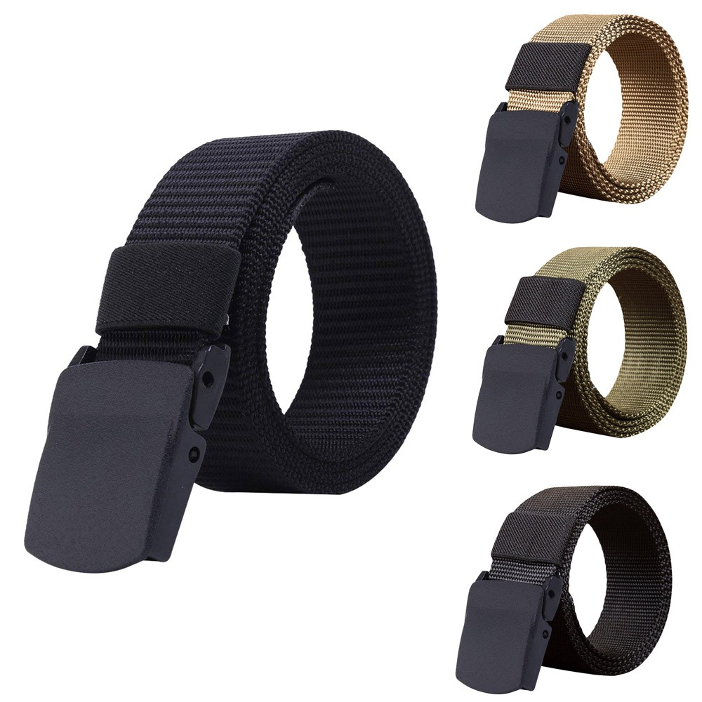 New Outdoor Men Women Universal Army Style Automatic Buckle Nylon Belt Tactical Waist Plastic Buckle Belt For Men Female