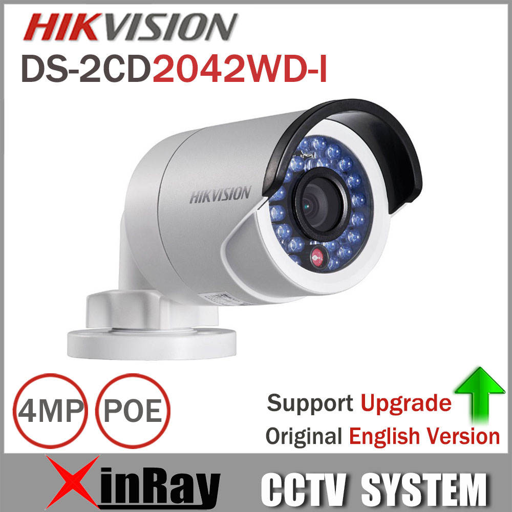 Updateable HIKVISION Network Camera DS-2CD2042WD-I Full HD 4MP IP Camera High Resoultion WDR POE Bullet CCTV Camera