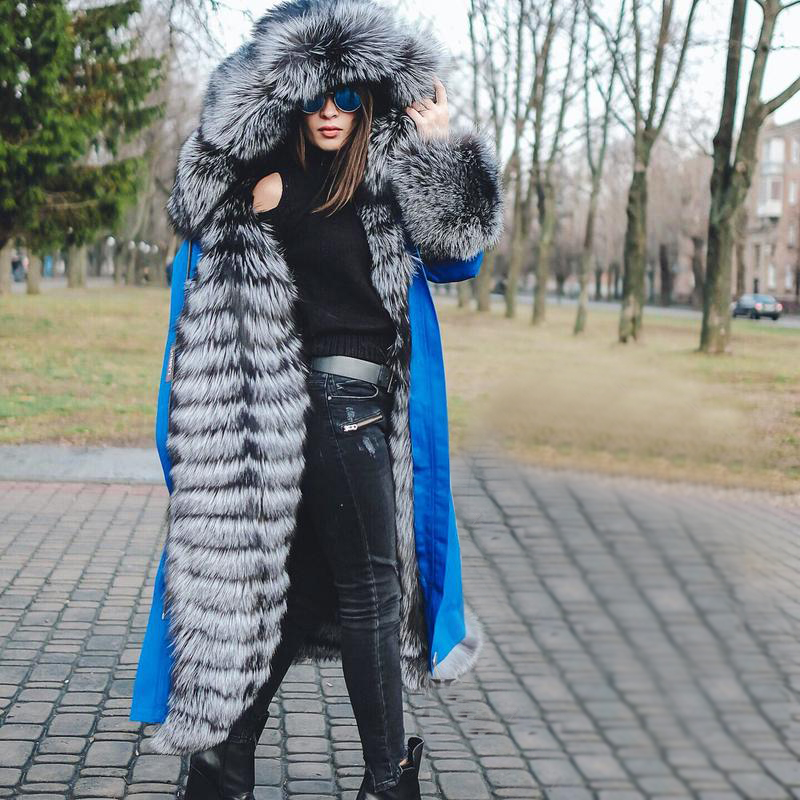 2019 Park Natural Fur Lining Coat Female Luxury Women's Russian Winter Parka New Long Coat Women Removable Parka Real Fur Outfit