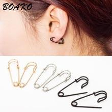 цены BOAKO 1Pair Safety Pin Ear Hook Stud Earrings Ear Threader Unisex Punk Rock Puncture Earrings 2019 New Fashion Party Jewelry