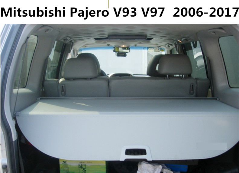 Car Rear Trunk Security Shield Cargo Cover For Mitsubishi Pajero V93 V97 2006-2017 High Qualit Black Beige Grey Auto Accessories car rear trunk security shield cargo cover for ford escare kuga 2016 2017 high qualit black beige auto accessories