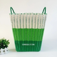 Beautiful Pure Manual Environmental Protection Plastic Pipe Woven Basket, Toy Basket