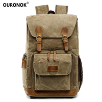 OURONOK Waterproof Shockproof Shoulders Canvas Backpack DSLR Full Frame Video Drone Tripod Case Outdoor Camera Photo Backpack