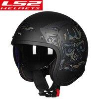 LS2 OF599 Vintage Motorcycle Helmet women man open face retro scooter moto helmet with sun shield motorbike vespa helmets