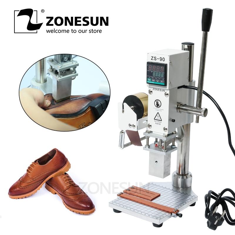 Alibaba グループ 上の ZONESUN ホット箔スタンピングマシンエンボスロゴ商標マニュアルブロンズマシンため Finshed 革の靴熱コールドプレス 1