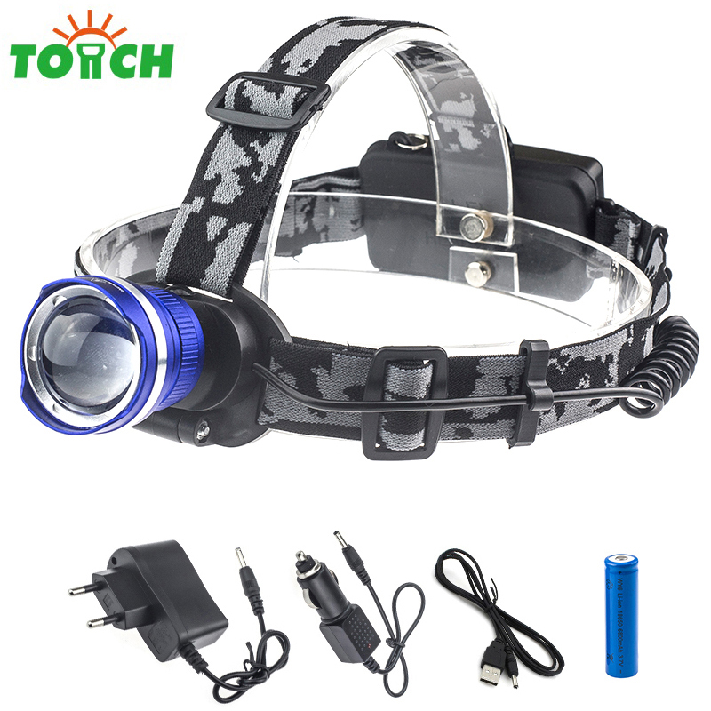 Cree T6 LED Frontal Headlamp zoomable Headlight Flashlight 18650 Rechargeable Lampe 3xAAA Torch Head lamp for outdoor sports