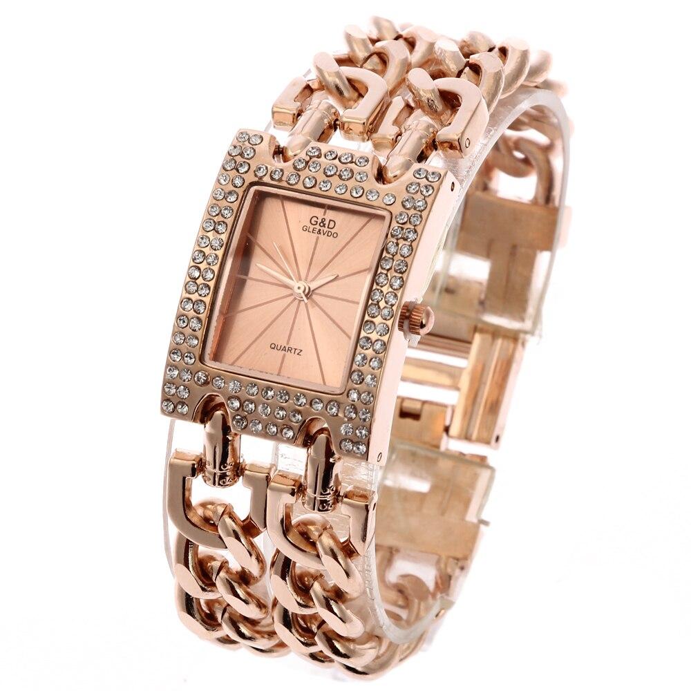 G & D Kvinnor Quartz Armbandsur Rose Guld Rostfritt Stål Band Topp Märke Lyx Kvinnor Klocka Klänning Reloj Mujer Relogio Feminino