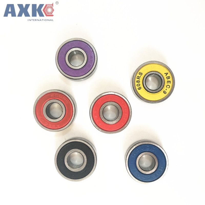 AXK Deep Groove Ball Bearing 608-2rs 608zz 608 2rs Abec-7 aBEC-9 8x22x7mm Red Double Rubber Sealing Cover Ball Bearing стоимость
