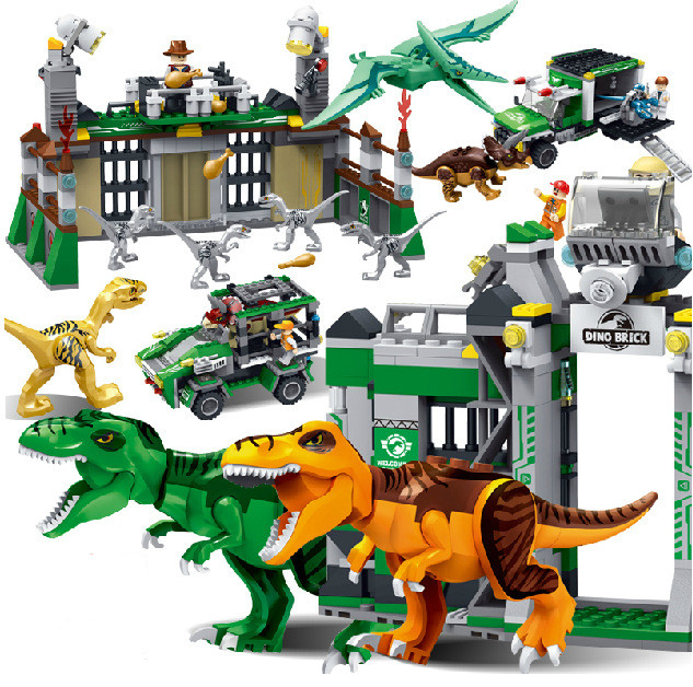 jurassic world park dinosaur raptor protection zone building blocks sets bricks kids toys juguetes classic compatible legoings in blocks from toys hobbies - Lego Dinosaure