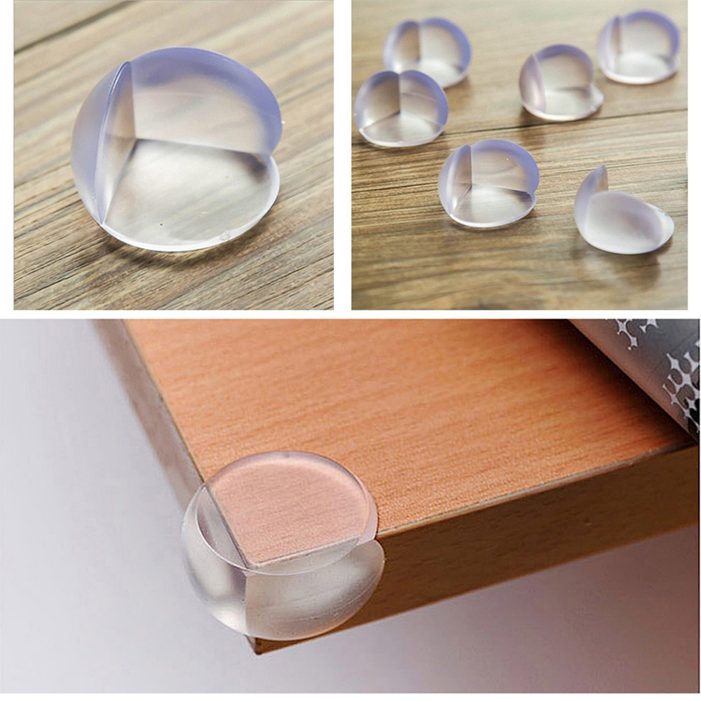 4Pcs Transparent Adhesive Table Bumper Protector Ball Shape Baby Safety Desk Corner Guard Cushion