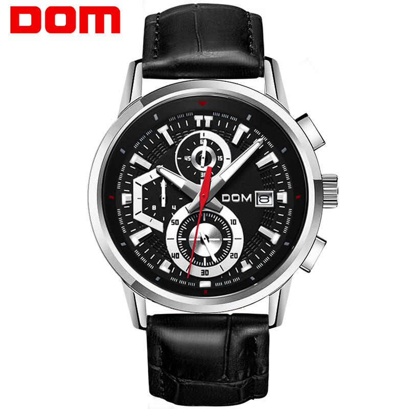 цена на man watch stainless steel DOM Brand sports fashion quartz military chronograph wrist watches men army style M6033L1M