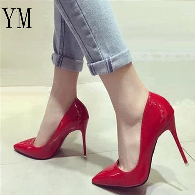 Seksi Bayan Kadın Ayakkabı Sivri Burun Pompaları Patent Deri Elbise Yüksek Topuklu Bot Ayakkabı Düğün Ayakkabı Zapatos Mujer Beyaz Mavi kırmızı