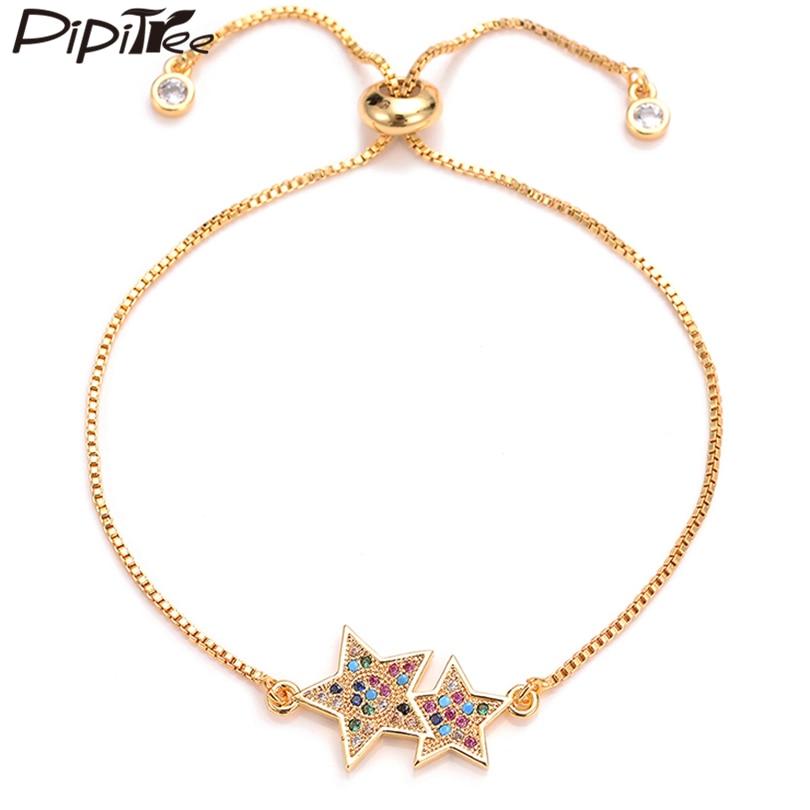 Pipitree Trendy Cubic Zirconia Double Bracelets for Women